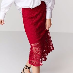 ZARA Red Guipure Lace Pencil Skirt